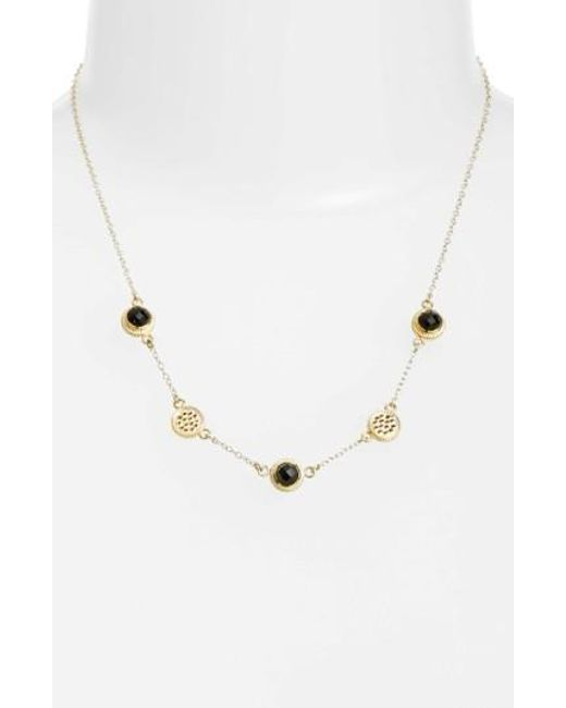 Anna Beck | Metallic Semiprecious Stone Station Necklace | Lyst