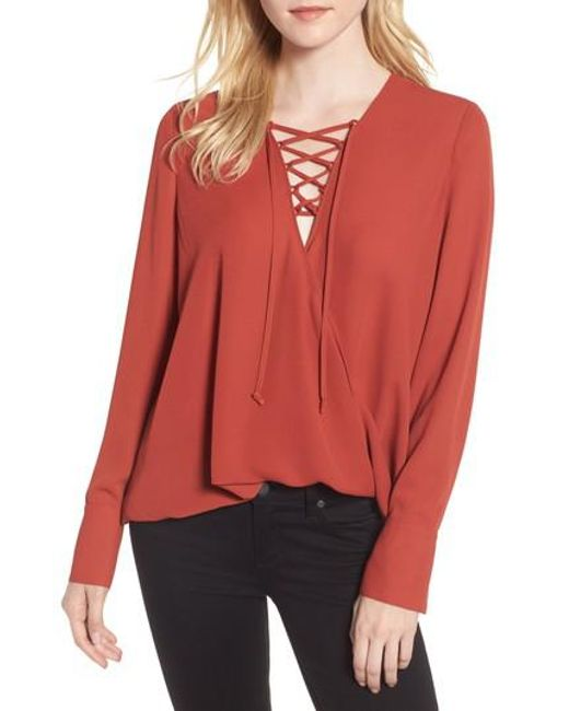 Trouvé | Red Lace-up Top | Lyst