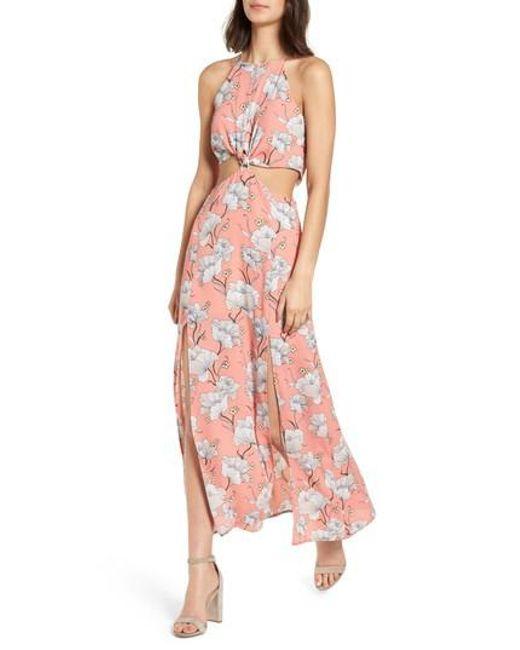 Lush - Pink Floral Cutout Maxi Dress - Lyst