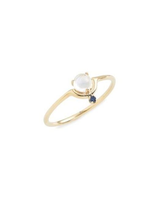 Wwake - Metallic Nestled Moonstone & Sapphire Ring - Lyst