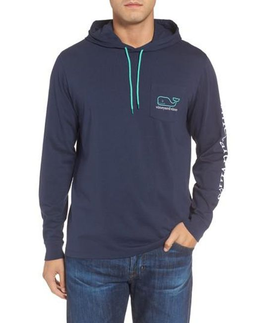 Lyst - Vineyard vines Whale Graphic Hooded T-shirt in Blue for Men