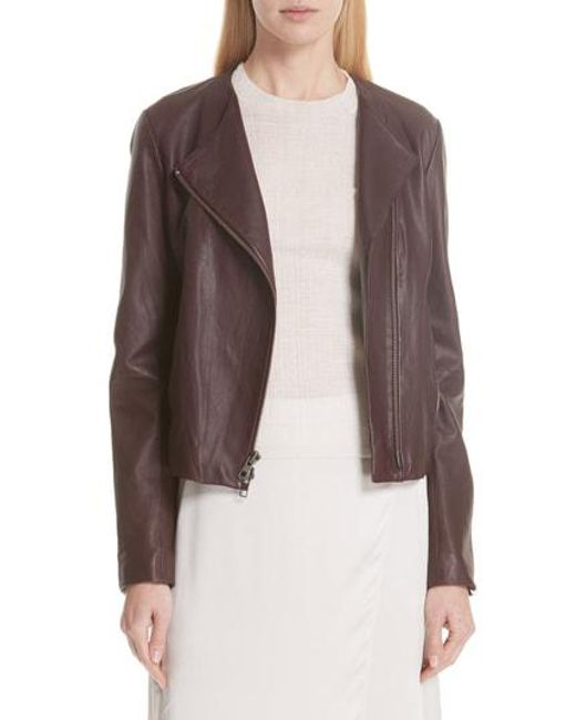Vince - Purple Zip Cross Front Leather Jacket - Lyst