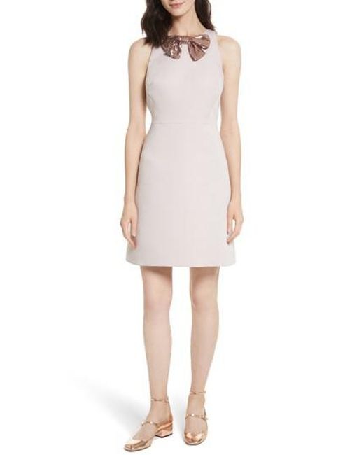 Kate Spade | Pink Sequin Bow A-line Dress | Lyst
