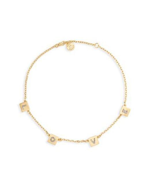 Tory Burch - Metallic Love Message Collar Necklace - Lyst