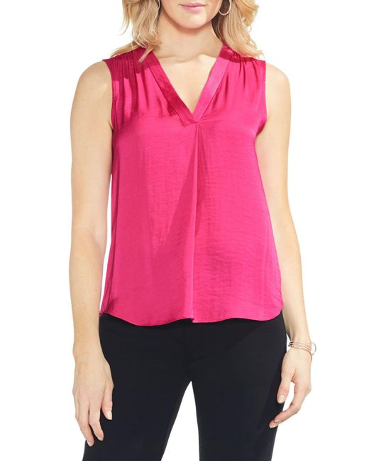 71a981a9a Lyst - Vince Camuto Rumpled Satin Blouse in Pink - Save 68%