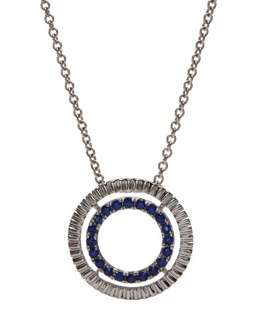 Bony Levy - Blue 18k White Gold Sapphire & Diamond Circle Pendant Necklace - Lyst