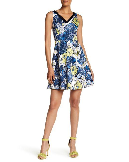 Karen Millen | Blue Floral Printed Dress | Lyst