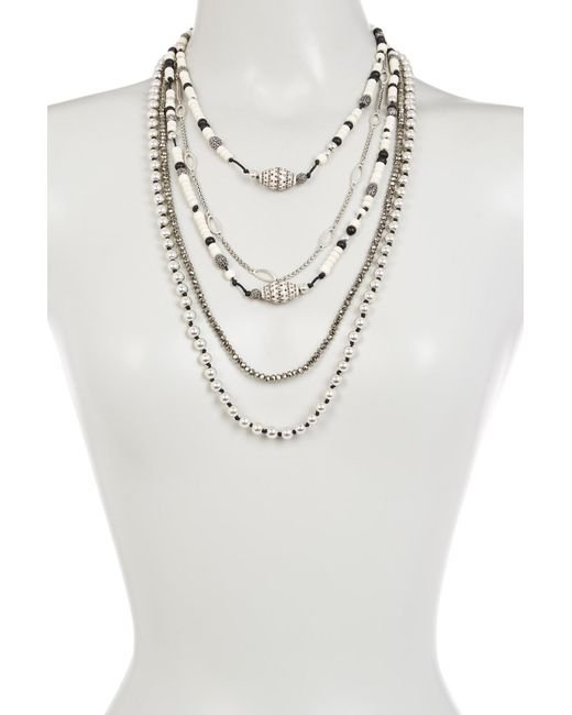 Lucky Brand | Metallic Beaded Statement Necklace | Lyst