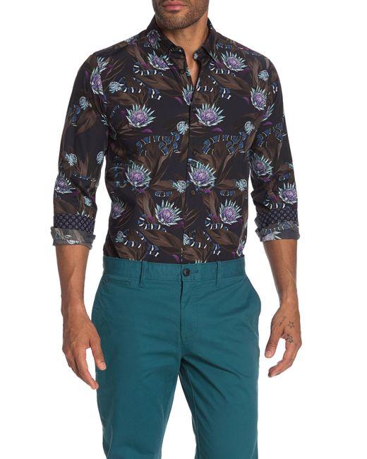Ted Baker Blue Snakey Snake Print Slim Fit Shirt for men