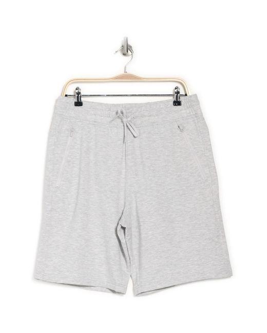 90 Degrees Gray Terry Zip Pocket Shorts for men