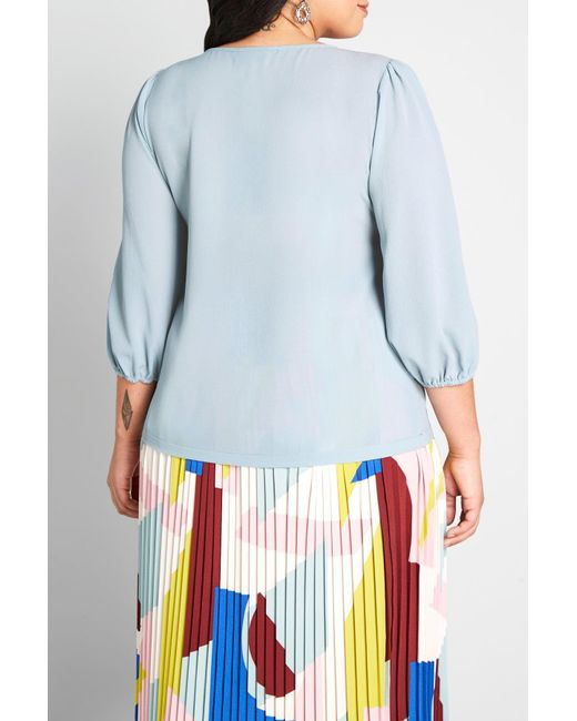 ModCloth Blue Certainly Essential V-neck Blouse