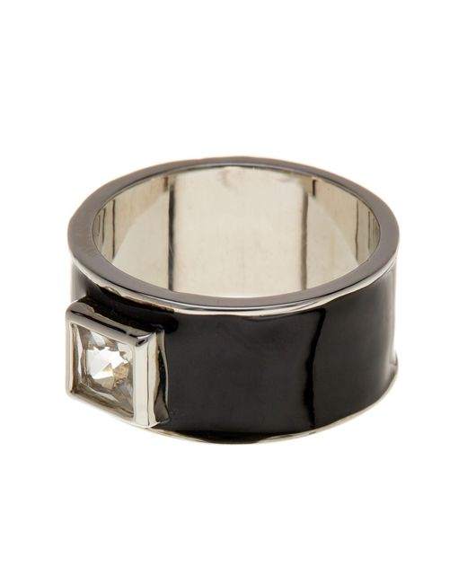 Ariella Collection | Multicolor Enamel Square Crystal Wide Band Ring | Lyst