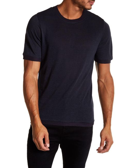 Vince   Blue Ribbed Trim Short Sleeve Linen Sweatshirt for Men   Lyst