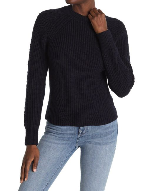 Reiss Blue Aisling Raglan Sleeve Ribbed Sweater