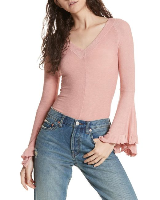 Free People - Pink Soo Dramatic Bell Sleeve Top - Lyst