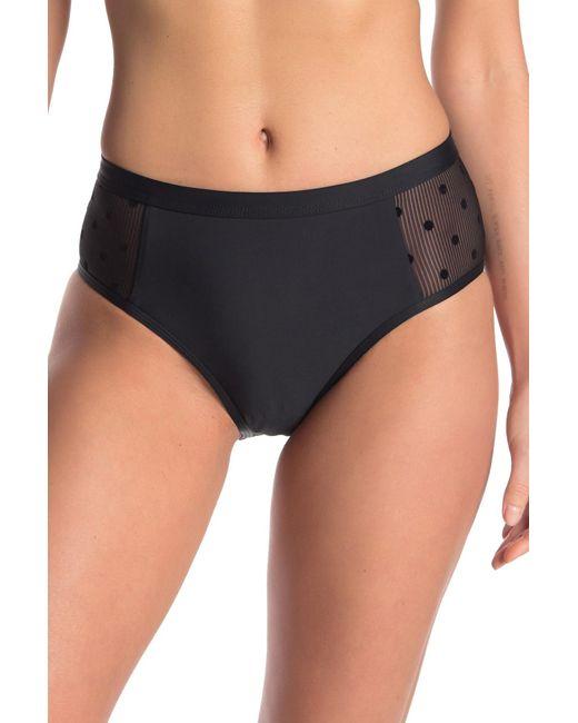 Ella Moss Black Polka Dot Mesh High Waist Bikini Bottoms