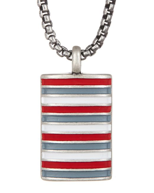 Ben Sherman - Red Stainless Steel Enamel Rolo Box Chain Necklace - Lyst