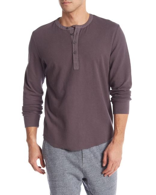 Grayers - Purple Campesina Double Cloth Thermal Henley for Men - Lyst