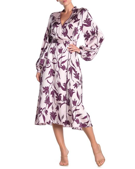 Equipment Pink Andrese Floral Print Silk Wrap Dress