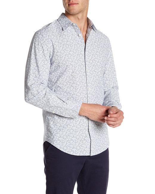 Perry Ellis - White Slim Fit Long Sleeve Floral Print Shirt for Men - Lyst