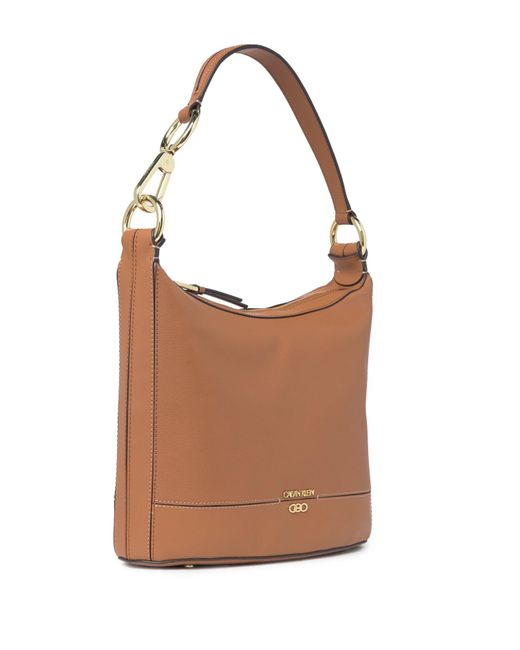 Calvin Klein Brown Sophia Micro Pebble Leather Hobo Shoulder Bag