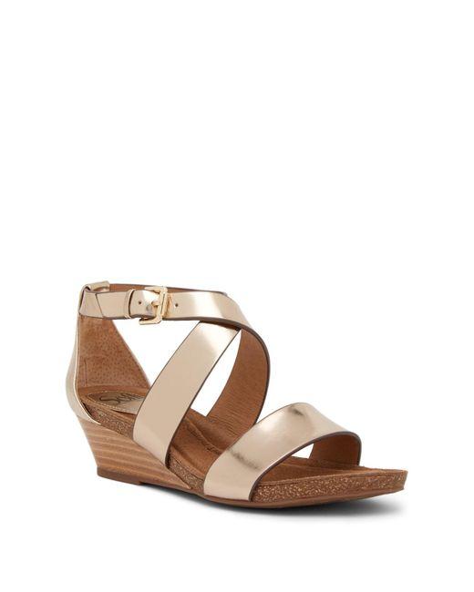 Söfft - Metallic Vita Crisscross Leather Wedge Sandal - Lyst