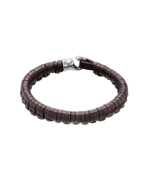 Uno De 50 - Brown Hook Plaited Leather Bracelet - Lyst