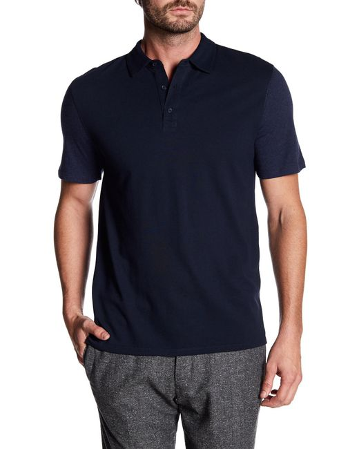 Vince - Blue Mixed Knit Polo Shirt for Men - Lyst