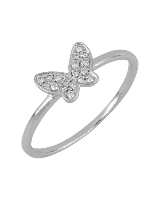Bony Levy - Multicolor 18k White Gold Pave Diamond Butterfly Stacking Ring - 0.08 Ctw - Lyst