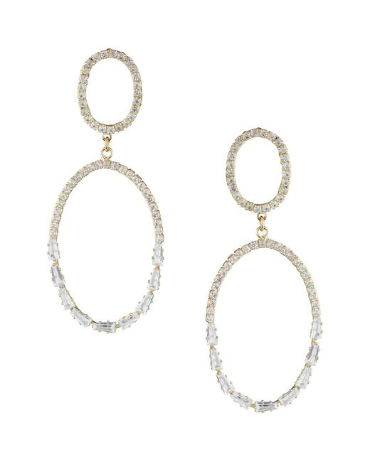CZ by Kenneth Jay Lane Metallic Pave Baguette Cz Double Oval Drop Earrings In Clear/gold At Nordstrom Rack