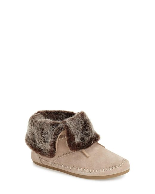 TOMS | Natural Zahara Suede Faux Fur Lining Bootie | Lyst