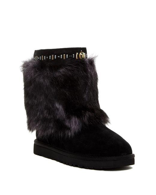 UGG   Black Vilet Genuine Sheepskin Crystal Embellished Boot   Lyst