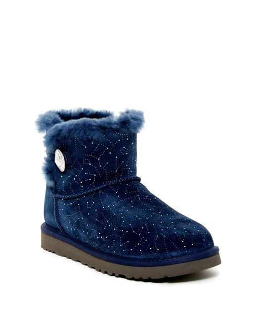 Ugg | Blue Mini Bailey Button Genuine Sheepskin Lined Constellation Boot | Lyst