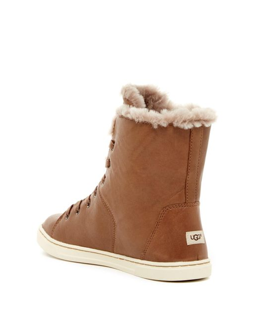 Ugg Croft Luxe Genuine Shearling High Top Sneaker In Brown