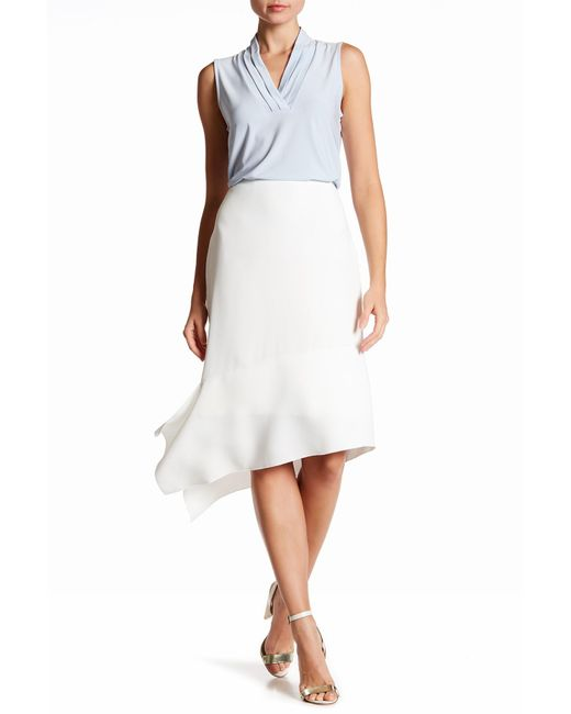 Anne Klein   White Asymmetrical Crepe Skirt   Lyst