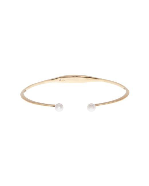 Nadri | Metallic Knife Edge & Simulated Pearl Open Hinged Bracelet | Lyst