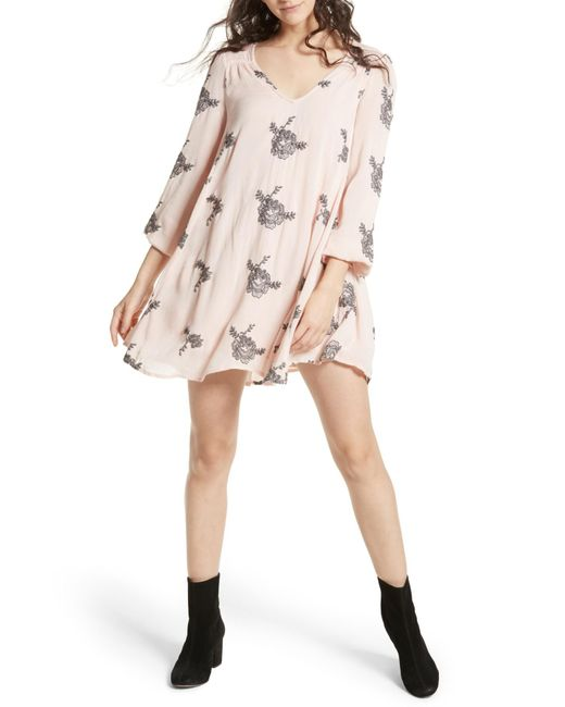 Free People - Pink Emma Embroidered Swing Dress - Lyst