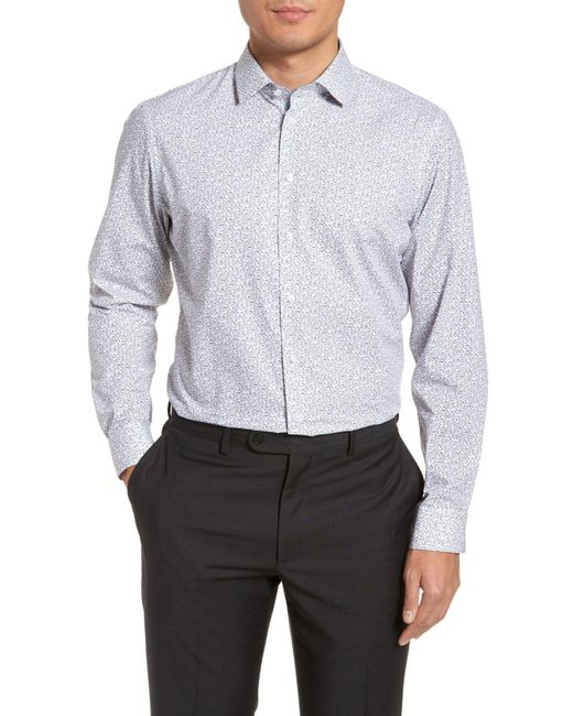 Calibrate - White Trim Fit Butterfly Print Sport Shirt for Men - Lyst