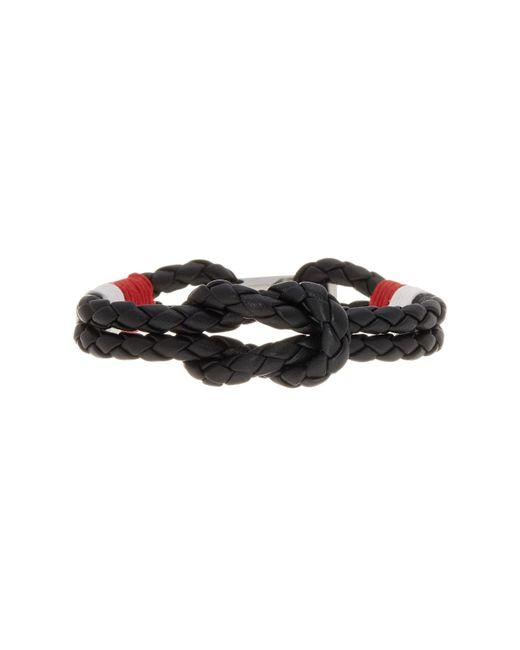 Ben Sherman - Black Stainless Steel Braided Leather Bracelet for Men - Lyst