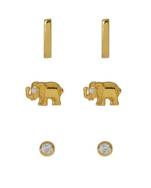 Argento Vivo   Metallic Circle, Elephant & Bar Stud Earrings Set - Set Of 3   Lyst
