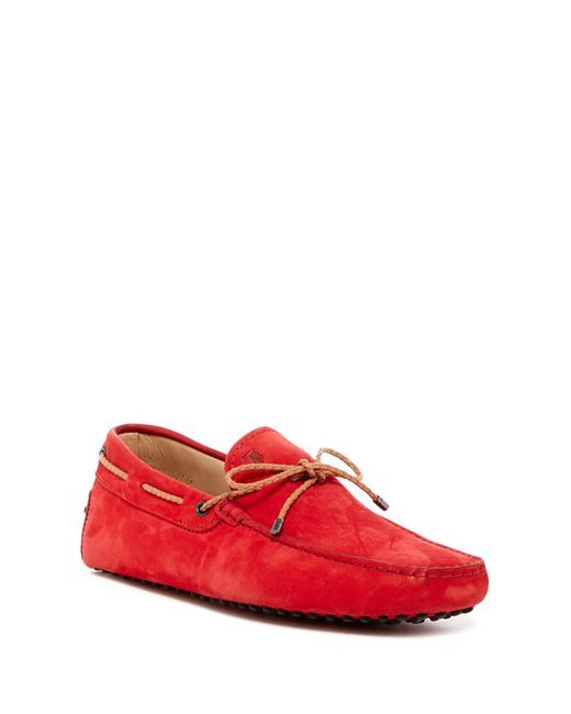 Tod's | Red Nubuck Leather Moccasin Driver for Men | Lyst