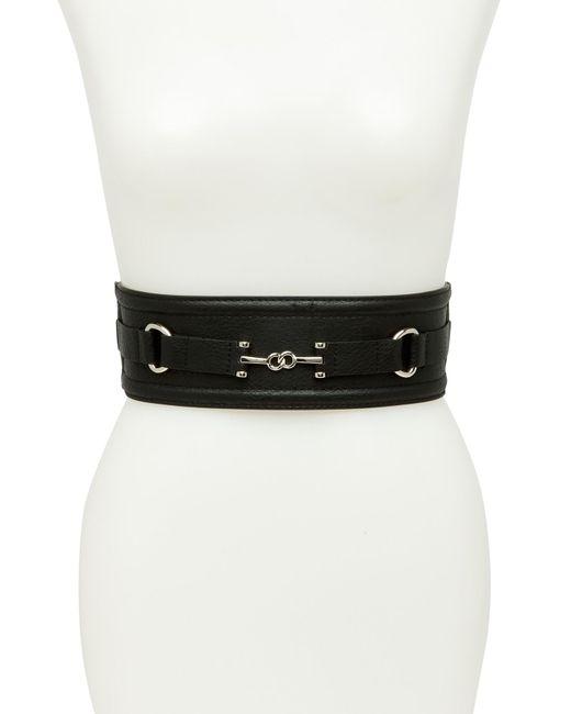 Ellen Tracy - Black Stretch Horsebit Wide Belt - Lyst