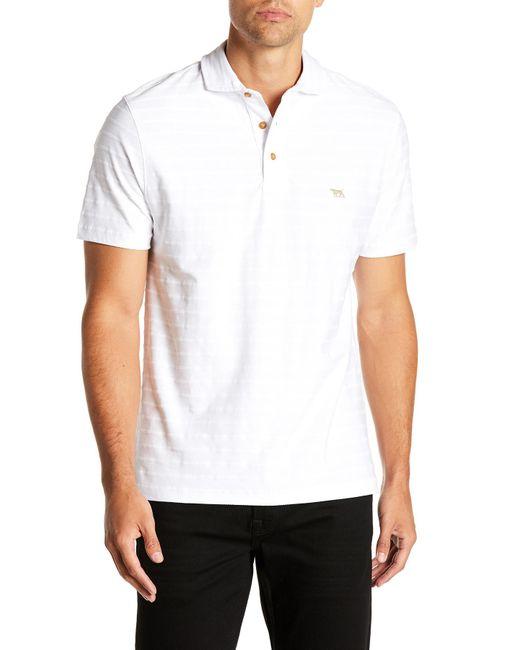 RODD AND GUNN - White Textured Stripe Polo for Men - Lyst