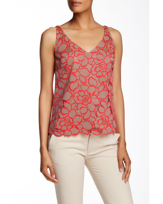 Trina Turk Sella Sleeveless Lace Tank In Red Nude - Save -7962