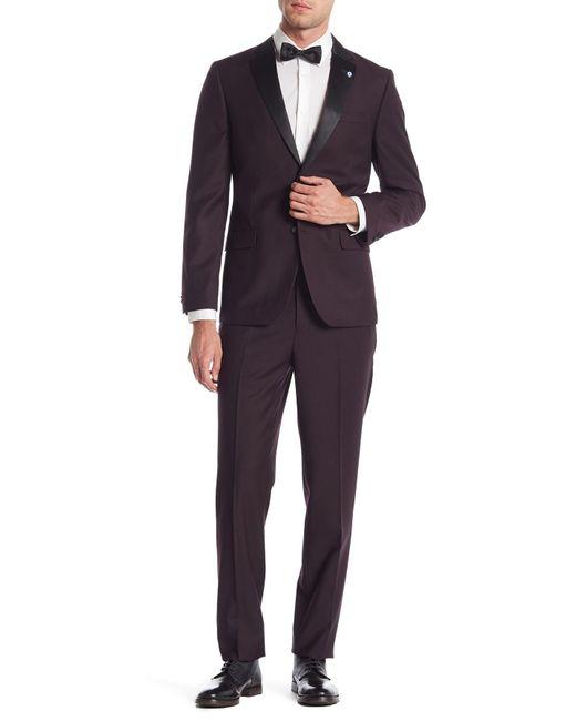 Ben Sherman Cedar Black Solid Two Button Notch Lapel Slim Fit Tuxedo for men