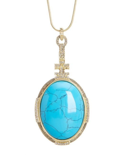 House of Harlow 1960 | Blue Tanta Crosshatch Pendant Necklace | Lyst