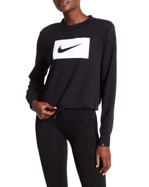 Nike - Black Cropped Crew Neck Swish Sweatshirt - Lyst