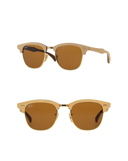 3e78299cab Ray-Ban - Brown 51mm Wood Clubmaster Sunglasses for Men - Lyst ...