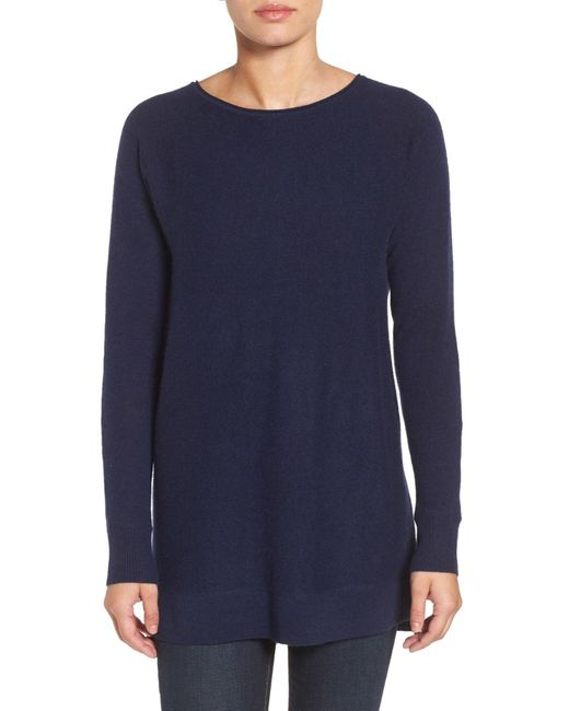 Halogen - Blue (r) High/low Wool & Cashmere Tunic Sweater (regular & Petite) - Lyst