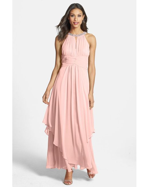 Eliza J | Pink Embellished Tiered Chiffon Halter Gown | Lyst